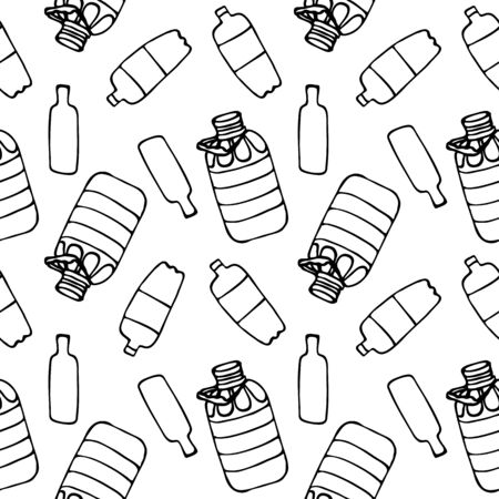 Black and white seamless pattern with plastic bottles. Pattern for a site about recycling plastic waste. The problem of environmental consumption. Linear simple vector drawing. Disposable bottles Illustration