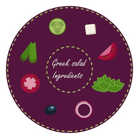Greek salad ingredients. Tomatoes, olives, onions, celery, cucumber, cheese. Healthy food natural set. Set of salad ingredients on a round purple background. Natural vegetarian meal. White background.