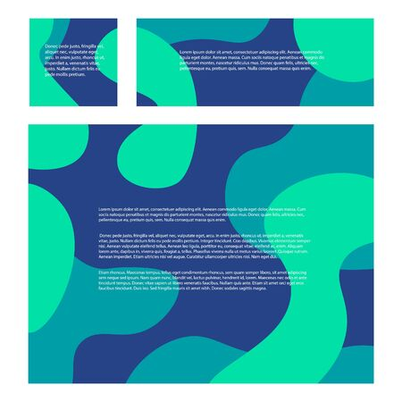 A set of abstract blue backgrounds for social networks. Rectangular and square backgrounds with a geometric pattern. Abstract smooth wavy shapes. Place under your text. Problem of ecology.