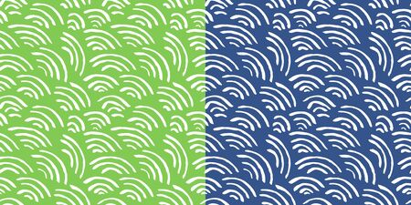 Isolated abstract scaly background with curled lines. Green and blue striped background. Two square seamless patterns for wallpaper design, website design, greeting cards, magazines, fabrics.