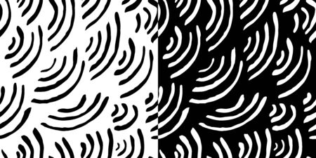 Isolated abstract scaly background with curled lines. Black and white striped background. Two square seamless patterns for wallpaper design, website design, greeting cards, magazines, fabrics
