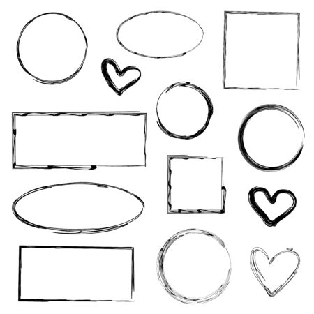 Set of 13 different isolated frames for graphic design, decoration of social networks. Frames of square, rectangular, oval shape and in the form of hearts. Black grunge lines drawn with a brush.