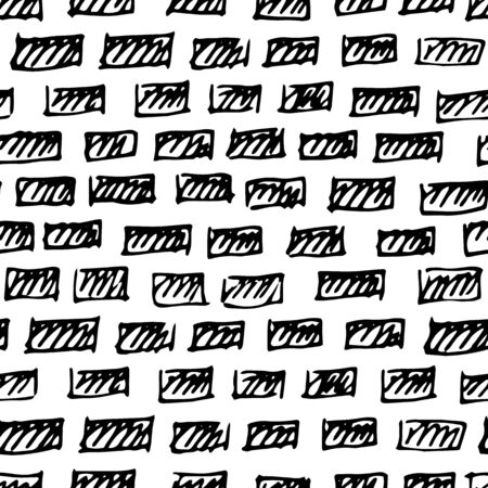 Seamless vector pattern in the form of drawn bricks. Simple black-and-white drawing in Doodle style. Darkened rectangles. Hand-drawn brick background for design of websites, laptop covers, magazines Иллюстрация