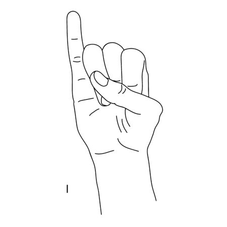 I am the ninth letter of the alphabet in sign language. Isolated image of a hand with clenched fingers, little finger cocked up. Black and white drawing of a hand. The language of the deaf and dumb. Banco de Imagens - 143088351