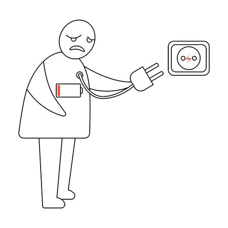 The schematic man is tired of hard work and looks as if he is running out of power from the battery on his body. He wants to recharge by plugging the cord into the socket. Black and white vector art