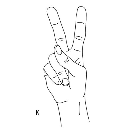 K is the eleventh letter of the alphabet in sign language. Gesture in the form of two fingers raised upward. The hand shows the number two on the fingers. Black and white drawing of a hand. Vectores