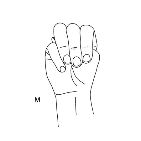 M is the thirteenth letter of the alphabet in sign language. A gesture in the shape of a fist with a protruding tip of the thumb. Black and white drawing of a hand. Deaf and dumb language. 向量圖像