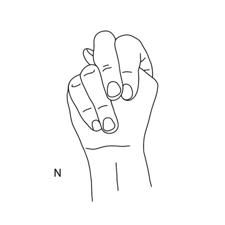 N is the fourteenth letter of the alphabet in sign language. A gesture in the shape of a fist with a protruding tip of the thumb. Black and white drawing of a hand. Deaf and dumb language