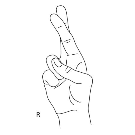 The drawing of a human hand. R is the eighteenth letter of the alphabet in sign language. The Letter R. Black and white drawing of a hand. Deaf and dumb language. Vector illustration Stock Illustratie