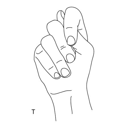 T is the twentieth letter of the alphabet in sign language. A gesture in the shape of a fist with a protruding tip of the thumb. Black and white drawing of a hand. Deaf and dumb language. Fig shish