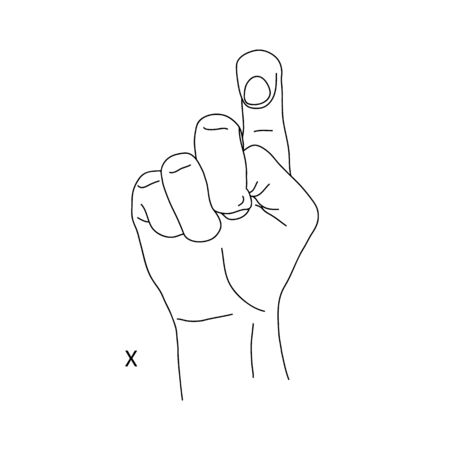 X is the twenty-fourth letter of the alphabet in sign language. The index finger is raised, the tip is bent, and the other fingers are clenched. Black and white hand drawing.Stock vector illustration Illustration
