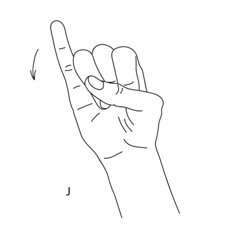 J is the tenth letter of the alphabet in sign language. Isolated image of a hand with clenched fingers, little finger cocked up. Black and white drawing of a hand. Deaf and dumb language.