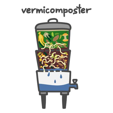 Vermicomposting: striped worms that process organic waste from the kitchen, a selective approach. The ecological approach. Zero waste. Composting organic waste. Recycling garbage. Vermicomposter.