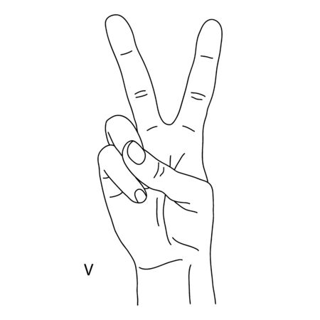 V is the twenty-second letter of the alphabet in sign language. A gesture in the form of two fingers raised up. Hand shows number two on fingers. Black and white drawing of a hand. Victory hand