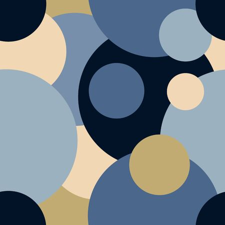 Raster seamless pattern from circles of different sizes and colors. The circles overlap each other. Blue and beige trendy colors. Background for covers of notebooks, magazines, wallpapers, fabrics