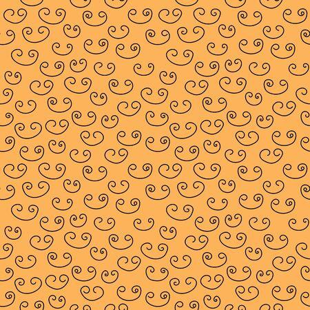 Lots of black double curls on an orange background. Seamless vector illustration. Abstract graphic design. Vector template for website design, packaging paper design, wallpaper, postcards, covers Ilustração