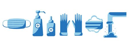 Disinfection Hand hygiene. Set of personal virus protection products. Set of hand sanitizer bottles, spray, laundry soap, rubber gloves, mask. PPE personal protective equipment. Stock illustration Ilustração