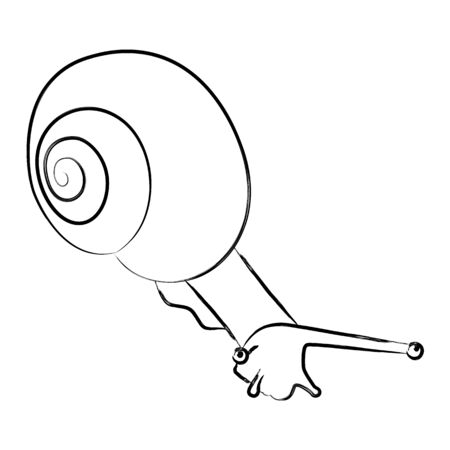 Illustration of a snail in thin line style, stroke. Isolated black silhouette snail on a white background. Vector illustration in line art style. The mollusk creeps down, it has a large spiral shell