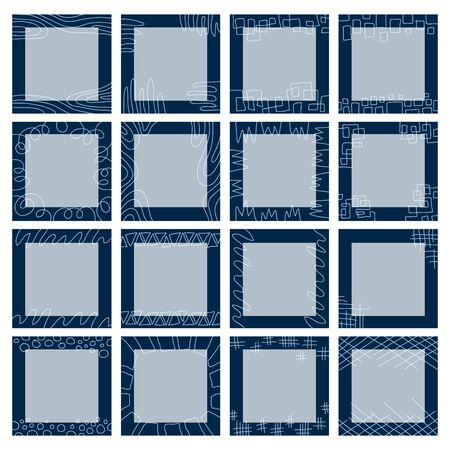 A large set of square blue backgrounds consisting of graphic patterns, geometric ornaments, abstract lines, simple hand-drawn symbols. Wavy lines, triangles, circles, squares. Isolated vector set