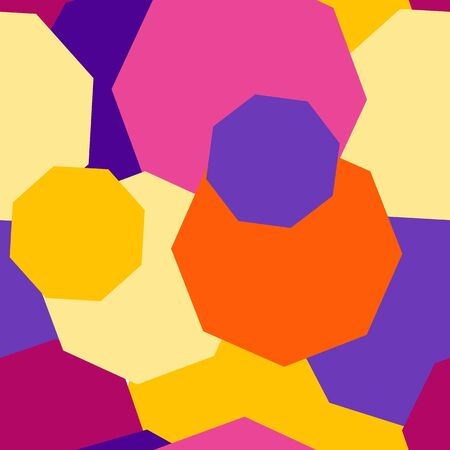 Vector seamless pattern from polygons of different sizes and colors. The octagon overlap each other. Purple, yellow, pink and orange trendy colors. Background for covers of notebooks, fabrics, site Ilustração