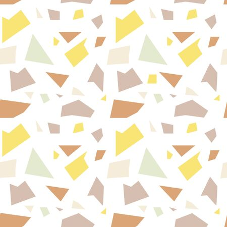 Seamless background of randomly placed sharp colored pieces. Unsaturated pastel shades. Vector illustration for wrapping paper, textile print. Light abstract mosaic seamless pattern. Endless texture