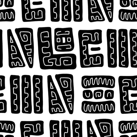 Ethnic background of large black and white elements. African ornament. Seamless pattern with kurpnymi black and white patterns. Use it as a background for the design of a social network or magazine.