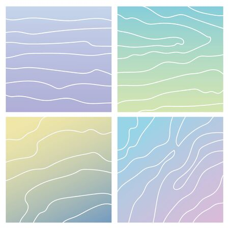 Set of four subtle marine square backgrounds. Calm light gradient of sand, blue and purple.The sea wave is drawn by a thin white line.Summer background for social networks, notebook covers, magazines.