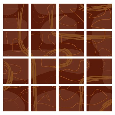 Set of their dark brown isolated backgrounds with random orange and brown smears. Quiet unobtrusive and appropriate colors. You can use it as a background for the design of a social network, magazine Ilustração