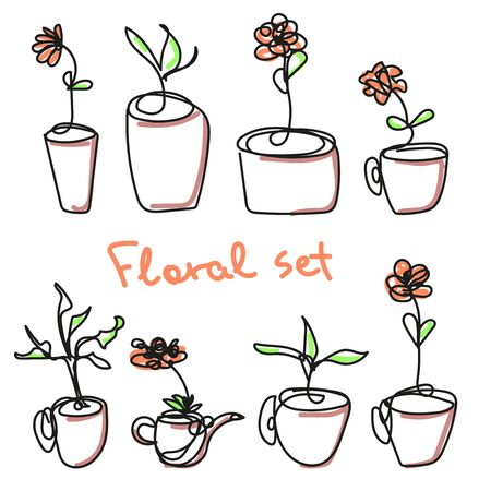 Set of eight vector flowers in a pot. Plants are drawn in one line. Black and white isolated drawing with small spots of color on the flowers, leaves. Flowers, teapot, seedling. Vector illustration