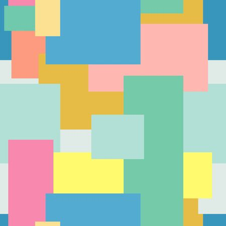 A vector seamless pattern consisting of many colored rectangles partially overlapping each other. Soft pastel trend colors. For fabric design, website design, social networks, books, laptop covers Ilustração