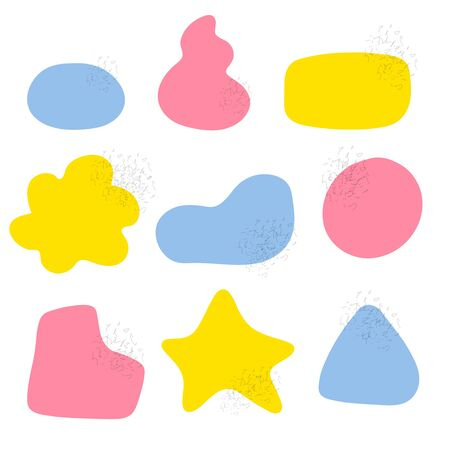 A set of nine abstract figures in pink, blue and yellow. You can use it as a background for text. A simple Doodle shapes. Colored rounded spots - circle, square, star. Stock vector illustration.