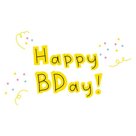 Hand-drawn inscription happy birthday. Cute lettering in trendy colors. Yellow letters on a white background with small pink and blue spots of confetti. Holiday greetings. Stock vector illustration.