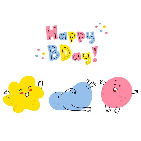 Hand-drawn funny tiny doodles-monsters with thin handles. Birthday greeting card. Funny smiling emoticons on their faces. Fashionable colorful illustration for children. Stock vector illustration.