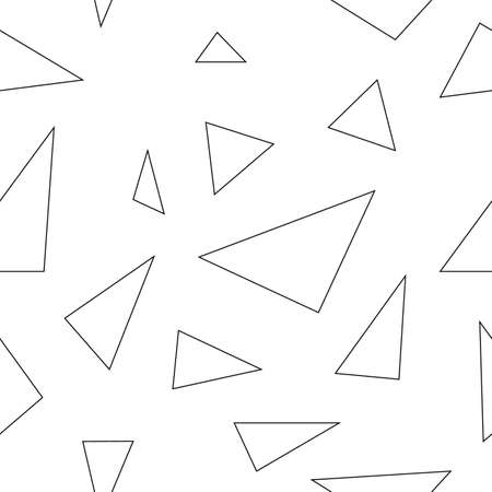 Seamless white background of randomly placed sharp black and white pieces. Small and large fragments. Vector illustration for wrapping paper, textile print. Abstract mosaic pattern. Endless texture
