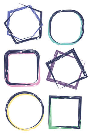 A set of 6 different isolated frames for graphic design, social media design. Frames are square, pentagonal, and round. Blue grunge lines drawn with a brush. Colored shadows of pleasant pastel tones
