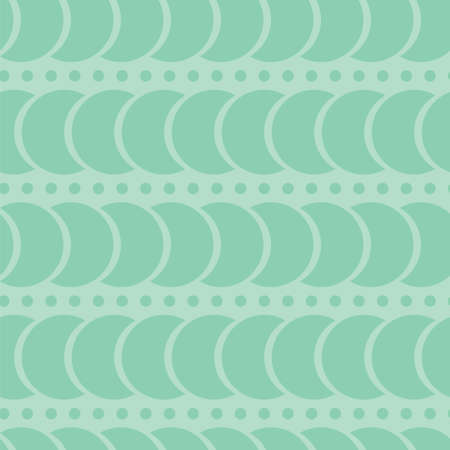 Seamless green background. A pattern of circles and crescents. The horizontal pattern. Delicate pastel shades of green. Stock vector illustration. Use it for website design, packaging paper, fabric