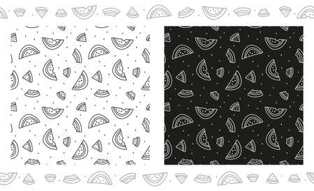 Slice of watermelon seamless pattern. Illustration in black and white. Coloring page, paper book. Two options in black and white and a grey border of watermelon pieces. Stock vector illustration Stock Illustratie