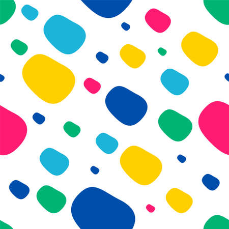 Vector pattern with colored rounded spots on a white background. The bright beans are arranged in a chaotic order. Seamless background. Stock vector illustration. Kids style. For website, textiles Ilustração