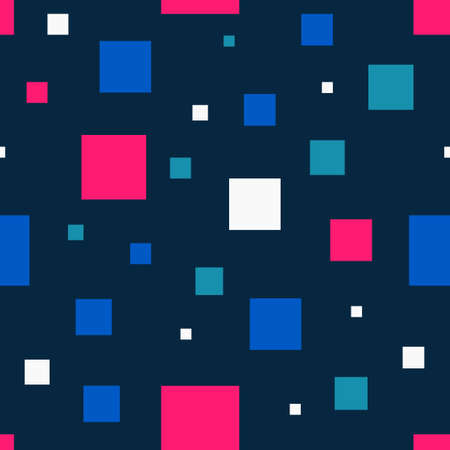 Seamless abstract geometric pattern of squares in random order. Simple flat vector. Colourful brick. Colored squares on a dark background. Stock vector illustration. Funny, happy and children theme