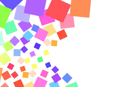 Many colored squares in different sizes on white 矢量图像