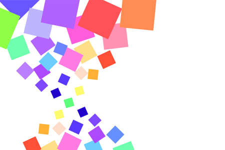 Background of many colored squares of different sizes with space for text. On the left, a pattern of squares, on the right, a white background. Colorful image. Stock vector illustration