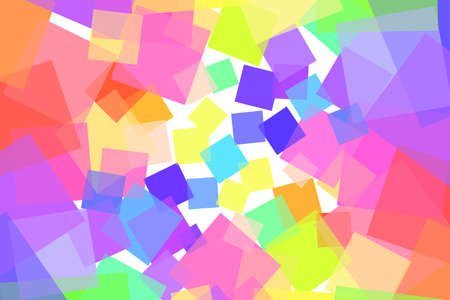 A background of many colored squares of different sizes intersecting with each other. Randomly placed transparent squares create a bright horizontal background. Colorful stock vector illustration