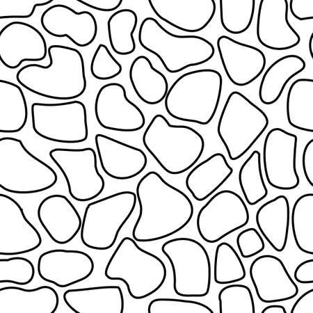 Vector seamless spotted pattern. Black outline of various shapes on a white background. Many shapeless rounded shapes. Tread pattern. Leopard. Doodle style. Stock illustration. For fabric, covers