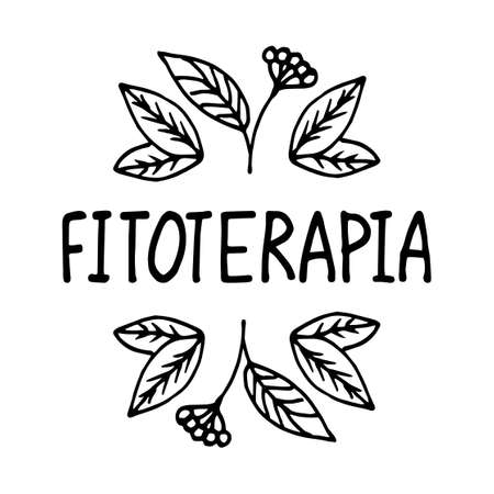 Herbal medicine, treatment with medicinal herbs.Suitable for packaging, web designs, advertising products, label. Hand drawn black and white linear pattern. Lettering. Vector symbol of fitoterapia Ilustração