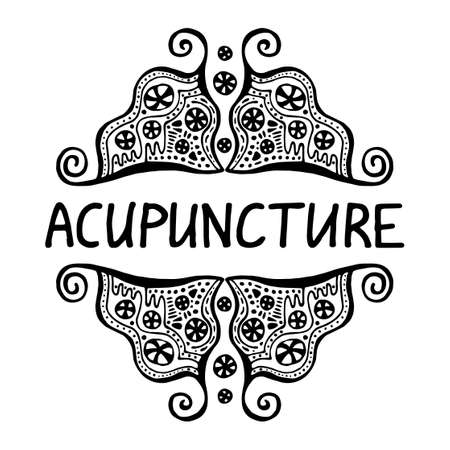 Acupuncture is an alternative medicine. Suitable for packaging, web designs, advertising products, label. Hand drawn black-white linear pattern. Lettering. Vector symbol of acupuncture. Stock vector 矢量图像