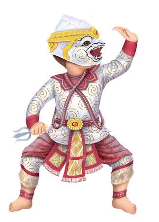 ramayana: Cartoon Hanuman Khon Thai performing arts Stock Photo
