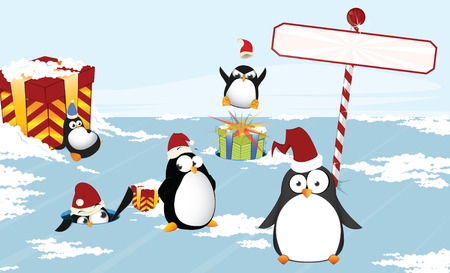 Christmas penguins Illustration