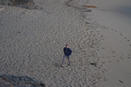 Jordan walking on beach