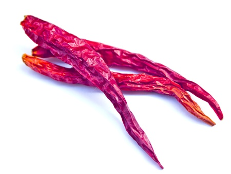 Red dried chili on white background photo