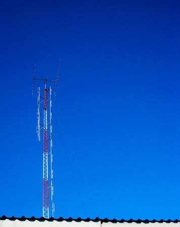 Television pole with clear sky photo